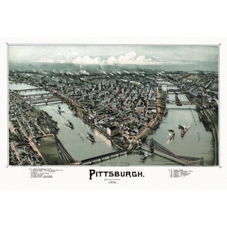 Antique Map Of Pittsburgh Pennsylvania 1902 Allegheny County Canvas Art     24 X 36