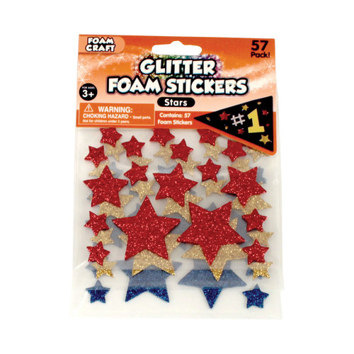 Glitter Foam Star Stickers, White/Silver/Gold