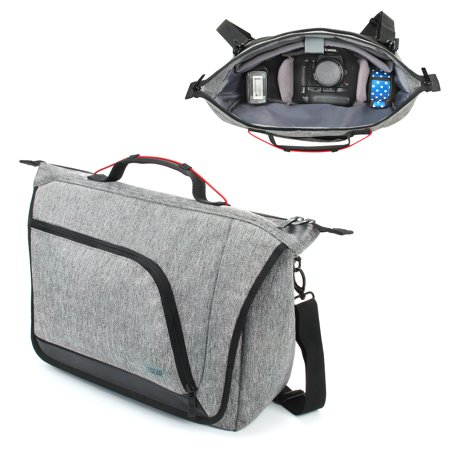 Messenger Camera Bag for DSLR / SLR by USA Gear with Customizable Dividers , Weather Resistant Bottom , Comfortable Back Support and Adjustable Strap - Fits Nikon , Canon , Sony , Pentax and More