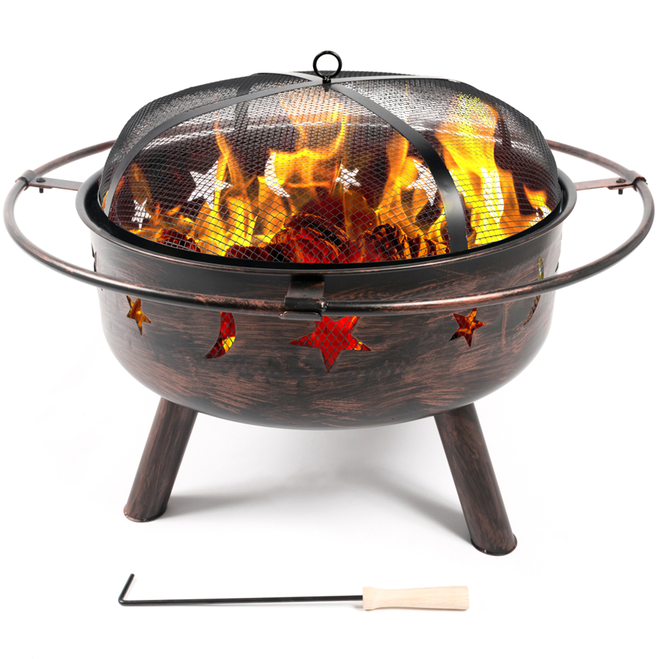 Belleze Outdoor Firepit Diamond Wood-Burning Log Firepit Sky Stars Moons Design w  Lids by Belleze