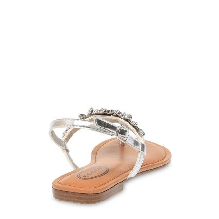 Scoop Women's Evelyn Jeweled T-Strap Sandals