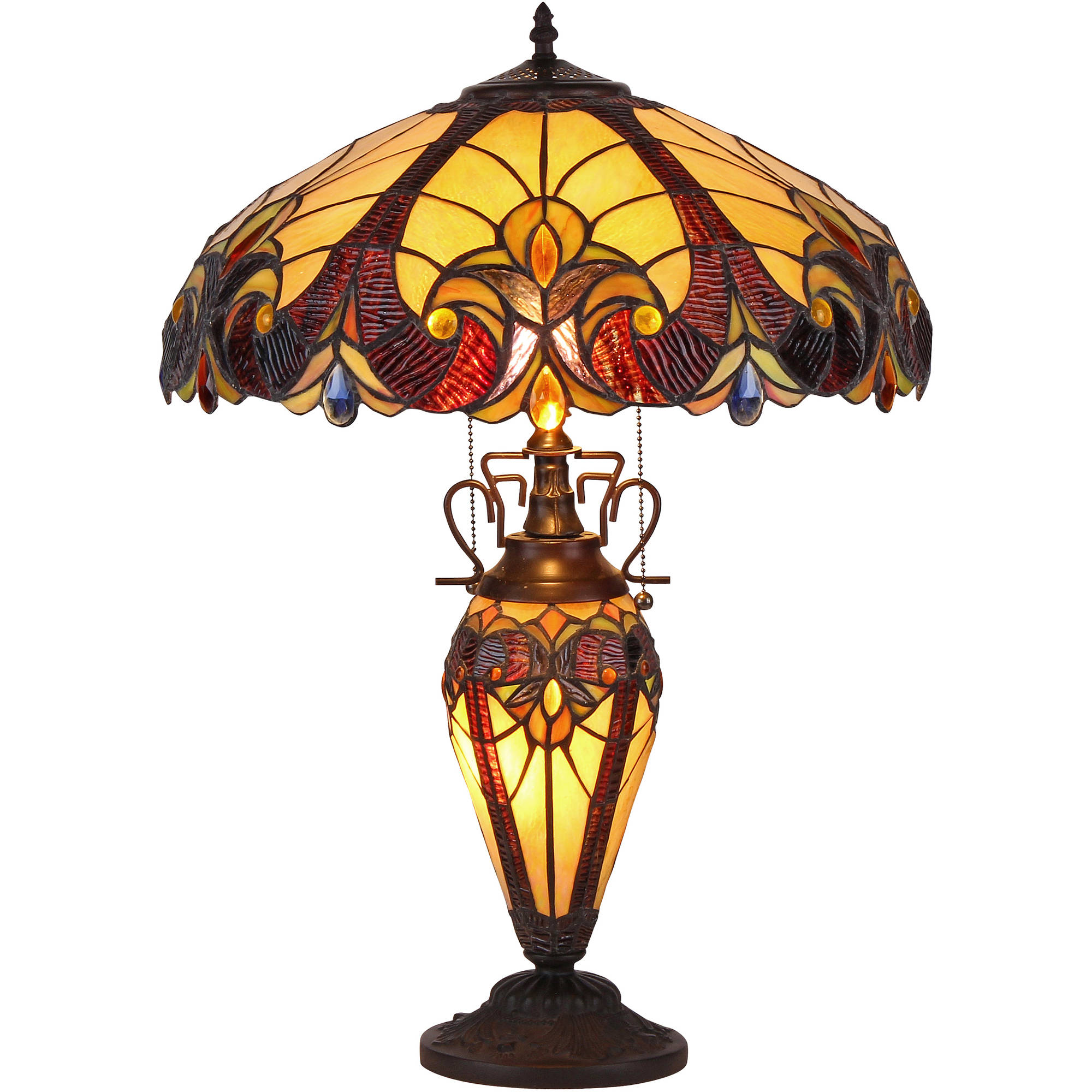 """Chloe Lighting Tiffany-Style 3-Light Victorian Double Lit Table Lamp with 18"""" Shade"""