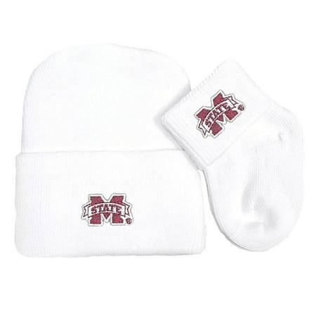 Mississippi State Bulldog Newborn Knit Cap and Socks Baby Gift Set