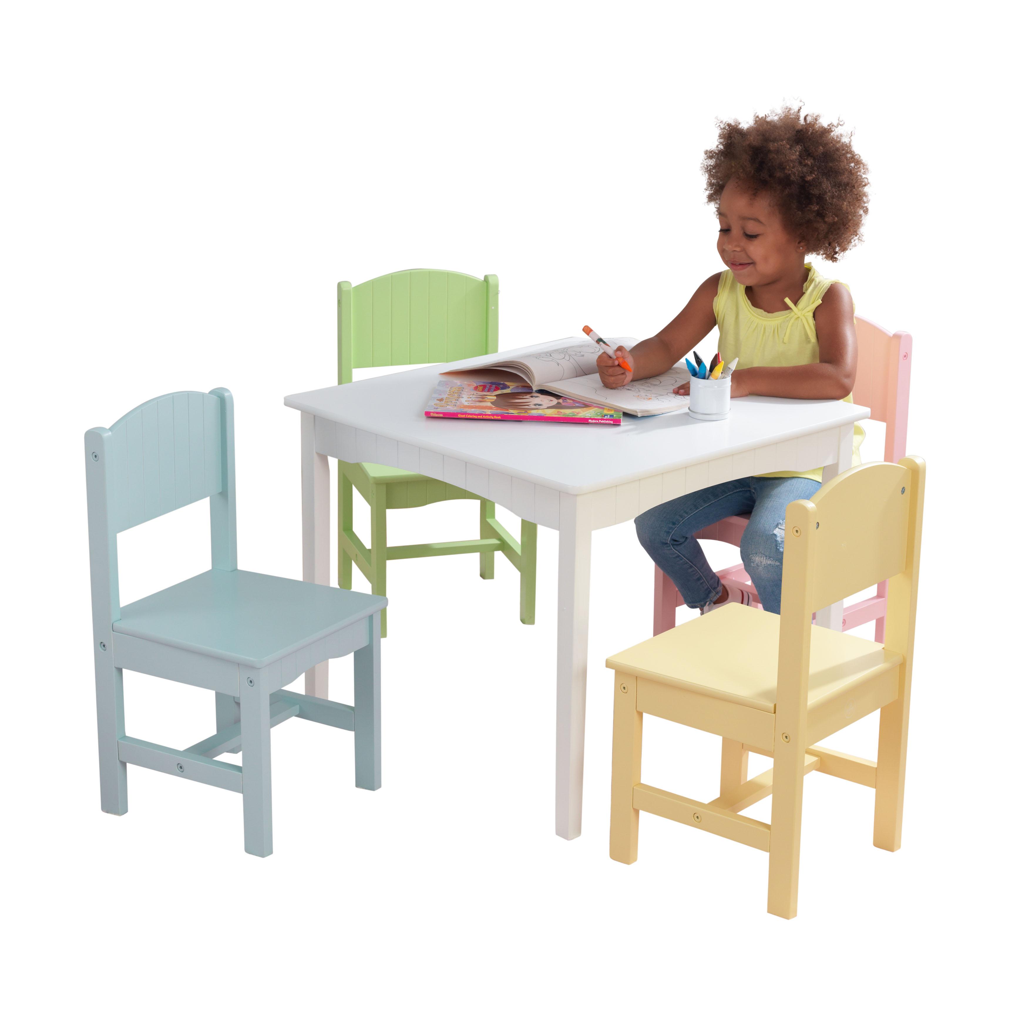 KidKraft Nantucket Table & 4 Chair Set, Multiple Colors