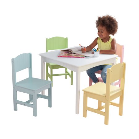 KidKraft Nantucket Table & 4 Chair Set, Multiple Colors