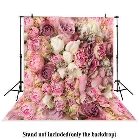 HelloDecor Polyster 5x7ft Photography backdrops background wedding bouquet pink floral flower wall rose bush studio newborn baby photocall