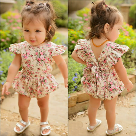 3521fed7c897 Emmababy - Newborn Infant Baby Girl Bodysuit Floral Romper Jumpsuit Outfit  Playsuit Clothes - Walmart.com