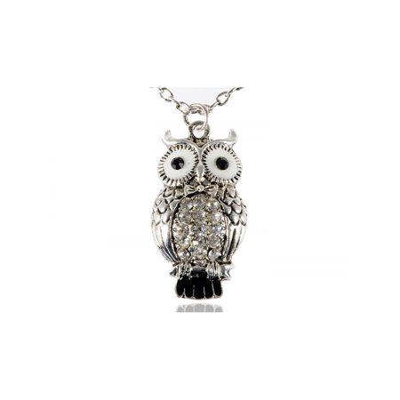 Eyed Owl Pendant - Enamel Wide Eyed Cute Alloy Tone Crystal Rhinestone Hooting Owl Pendant Necklace