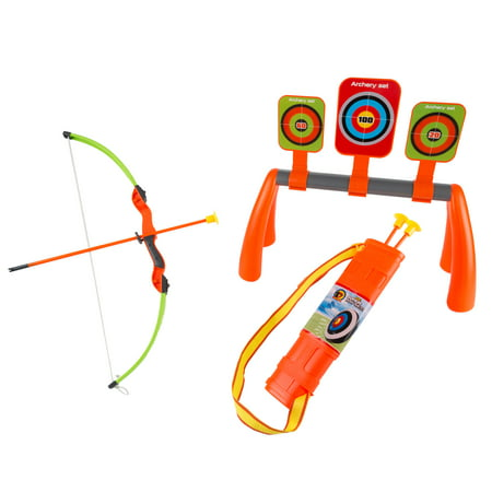 Kids Bow and Arrow Set with 3 Suction Cup Arrows, Target with 3 Aim Boards and Quiver- Safe Toy Beginner Archery Game for Boys and Girls By Hey! Play! - Bow & Arrow Set