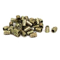 M4x10mm Hex Socket Threaded Insert Nuts Bronze Tone 40pcs for Wood Furniture