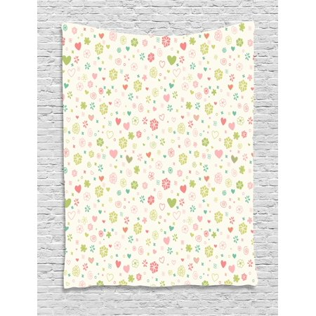 Baby Tapestry, Romantic Blooming Flowers Hearts Vintage Colors Valentines Day, Wall Hanging for Bedroom Living Room Dorm Decor, 60W X 80L Inches, Pale Green Pale Pink Avocado Green, by Ambesonne