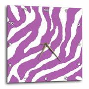3dRose Purple Zebra Pring - Wall Clock, 10 by 10-inch