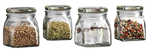 Palais Glassware 3 Ounce Clear Glass Spice Jar with Glass Lid Contemporary Square Finish,... by Palais Glassware