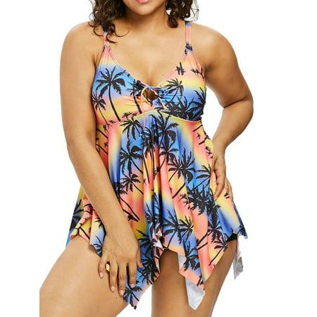 DYMADE Women's Plus Size Swimsuits Floral Print Swimwear Bathing Suit Two Piece Tankini (Swimsuits Plus Size 2 Piece)