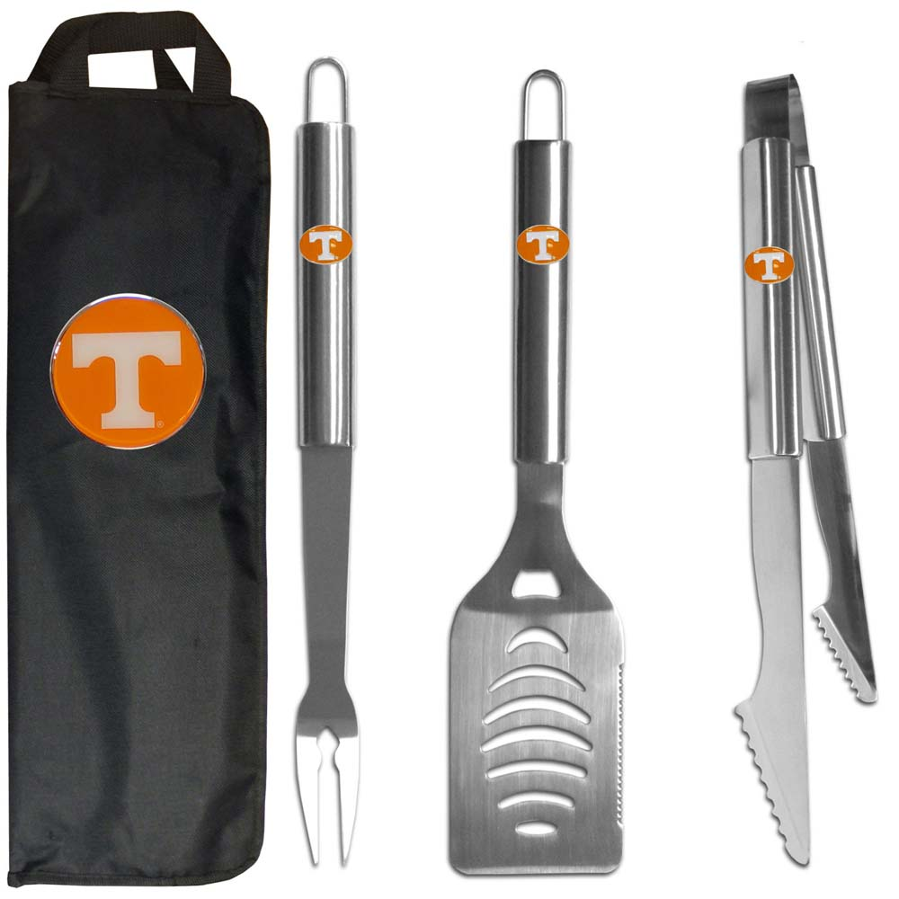 Tennessee Volunteers 3 pc Stainless Steel BBQ Set with Bag