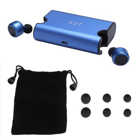 Bluetooth Stereo Music Headphones (X2T True Wireless Bluetooth Headphones In-ear Stereo Bluetooth 4.2 Sport Headsets Music Hands-free w/ Mic 1500 mAh Charging Box Blue for Travel Running Gym)