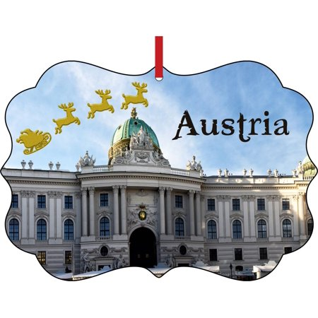 Santa Klaus and Sleigh Riding Over the Vienna Hofburg, Austria Elegant Semigloss Aluminum Christmas Ornament Tree Decoration - Unique Modern Novelty Tree Décor Favors ()