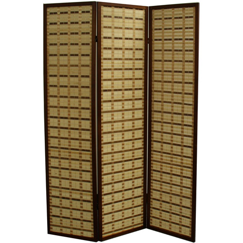 "70.25"" Two Tone Bamboo 3-Panel Room Divider, Walnut"