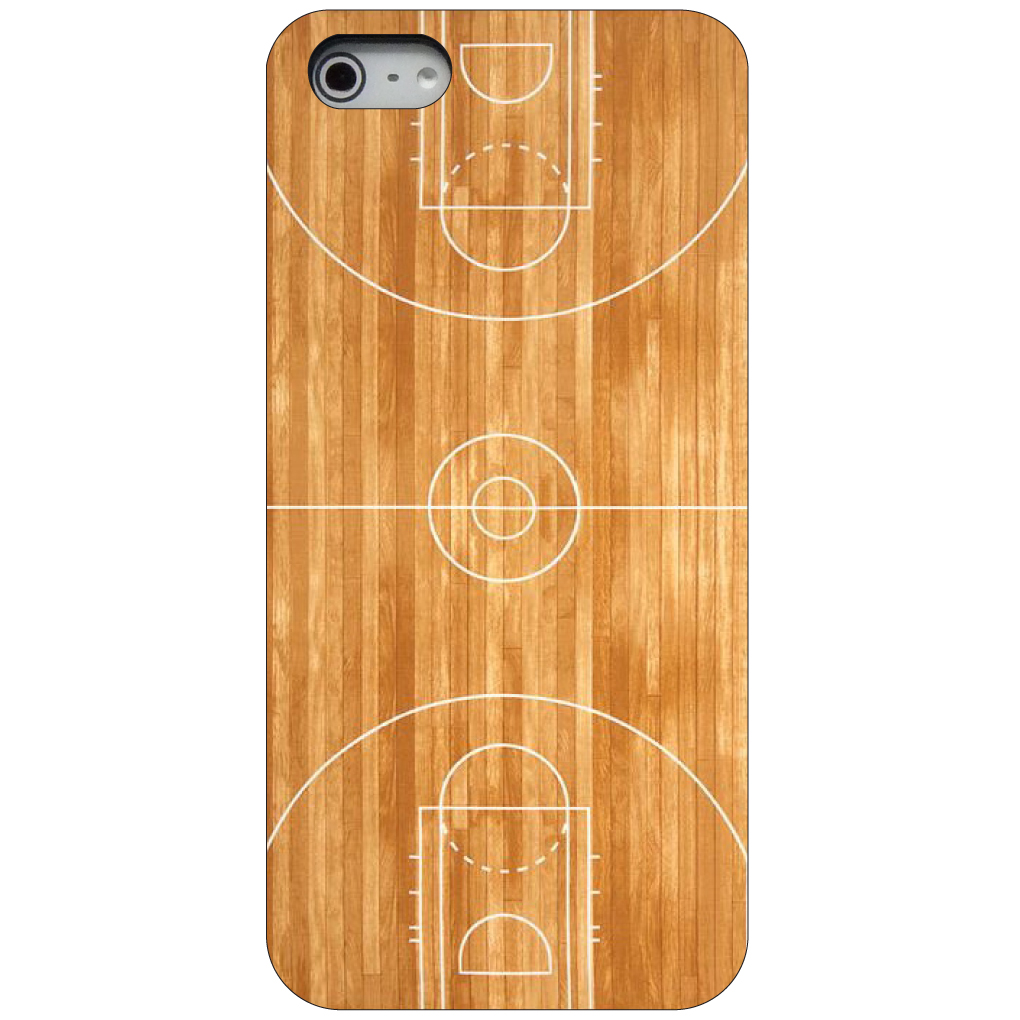 CUSTOM Black Hard Plastic Snap-On Case for Apple iPhone 5 / 5S / SE - Basketball Court Layout
