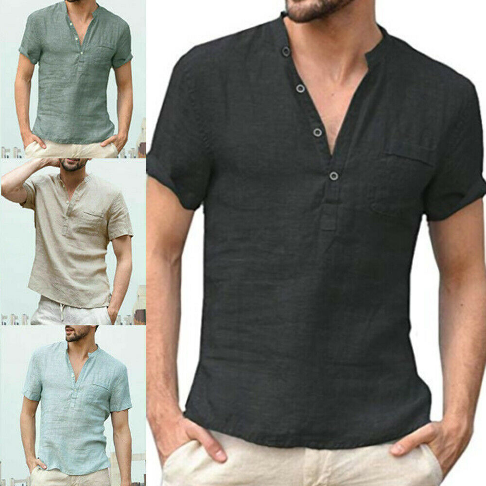 Men/'s Slim Fit Casual Solid Color Basic Tee Shirts V Neck Short Sleeve T-Shirt