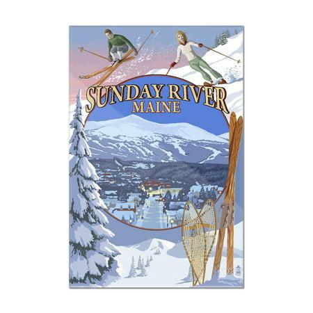 Sunday River, Maine - Winter Scenes Montage - Lantern Press Artwork (8x12 Acrylic Wall Art Gallery Quality) - Winter Scene