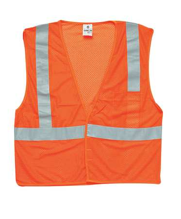 ML KISHIGO High Visibility Vest,Class 2,3XL,Orange 1084-3X