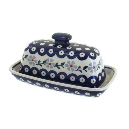 Polish Pottery Blue Violet Butter Dish (Blue Rose Pottery Butter Dish)