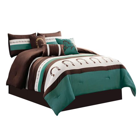WPM 7 Piece Rustic Comforter Set. Brown/Beige/Teal Horseshoe, Horse, Barb Wired Embroidered Bed in a Bag Western Cowboy Bedding Set- JENA (Teal, Queen)