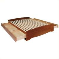 Prepac Monterey Cherry Double / Full Bookcase Platform Storage Bed