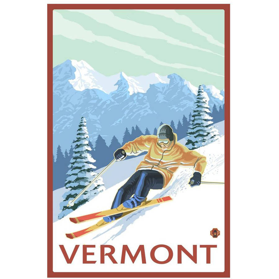 Vermont - Downhill Skier Scene: Retro Travel Poster by Eazl Cling