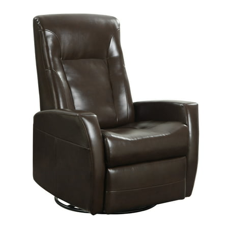 Custom Leather Upholstery - Emerald Home Conrad Chocolate Recliner with Faux Leather Upholstery, Swivel Glider, And Head Rest