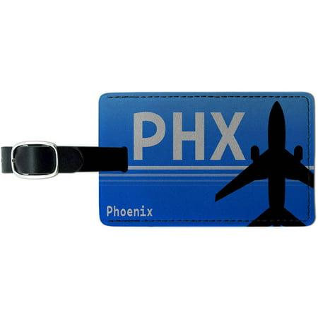 Phoenix AZ (PHX) Airport Code Leather Luggage ID Tag Suitcase - Costume Stores In Phoenix Az