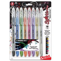 Pentel Sparkle Pop Metallic Gel Pen, 1.0mm Bold Line, Assorted Colors, 8pk