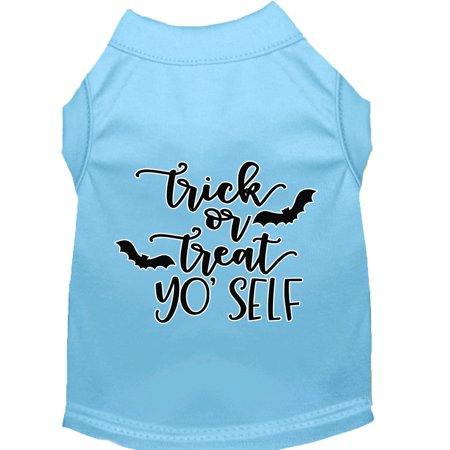 Trick Or Treat Yo' Self Screen Print Dog Shirt Baby Blue Sm](Yo Dog)
