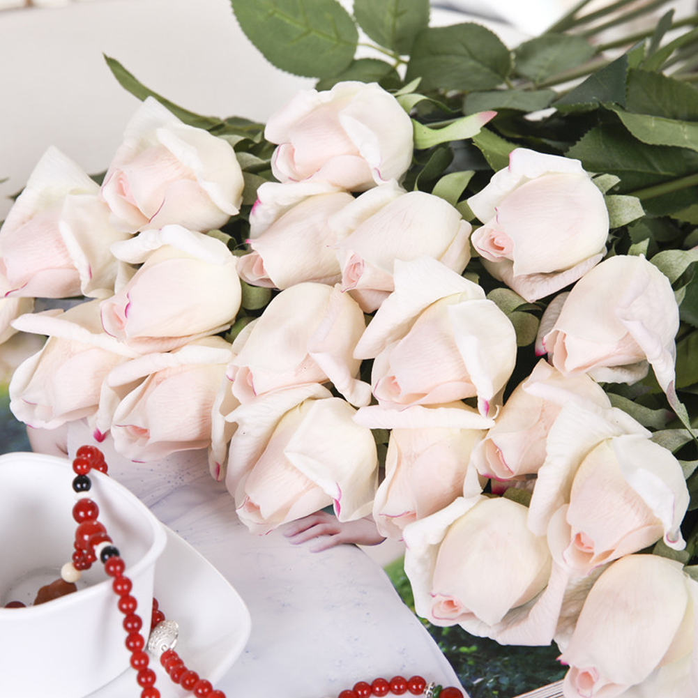 HiCoup 1Pc Real-touch Artificial Rose Flower Bridal Wedding Bouquet Party Decoration