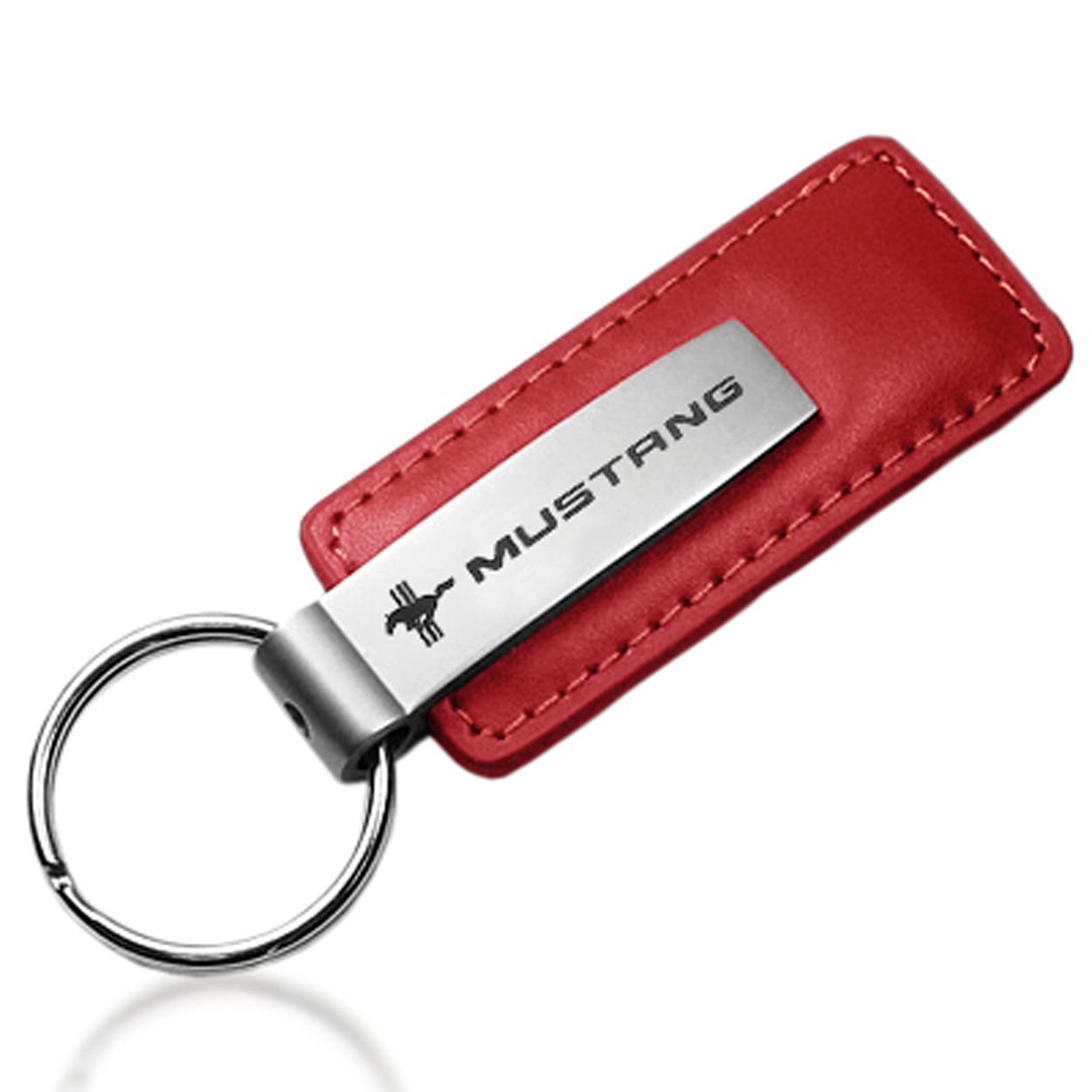 Ford Mustang Tri-Bar Logo Red Leather Car Key Chain