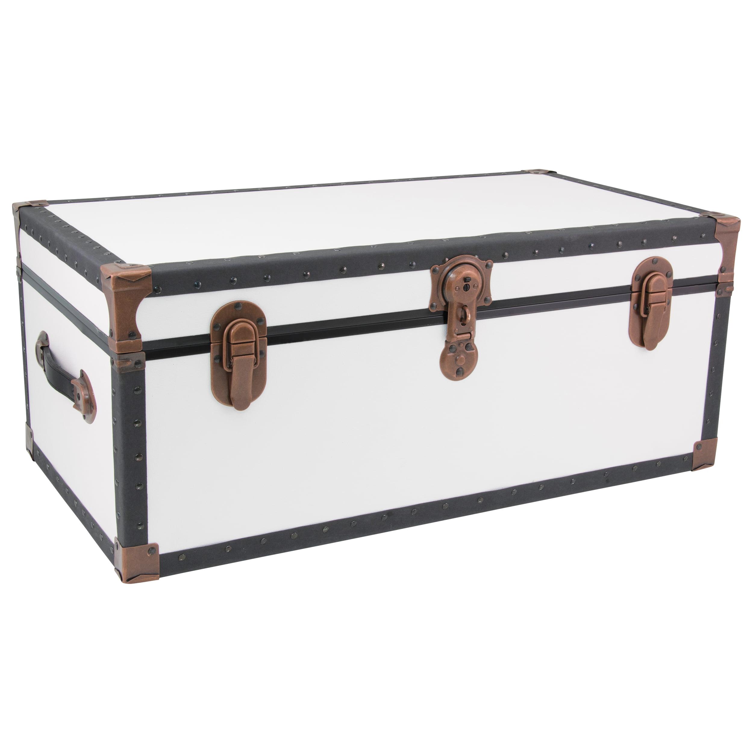 "Seward Trunk 31"" Over-Sized Locker, White with Copper Hardware"