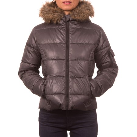 Juniors Down Blend Hooded Puffer Jacket with Faux Fur - Faux Fur Trim Hooded Cape