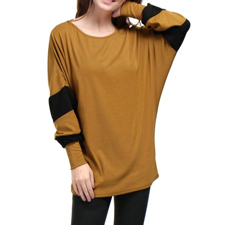 Unique Bargains Women Batwing Sleeve Color Block Loose Tunic Top Brown L - image 7 of 7