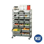 """Commercial 7-Tier Platinum/Gray NSF 16-Bin Rack Storage System, 14""""D x 36""""W x 56""""H by Seville Classics"""