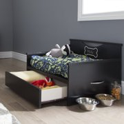 South Shore SoHo Dog Bed with Storage and Cushion Cover, Pure Black