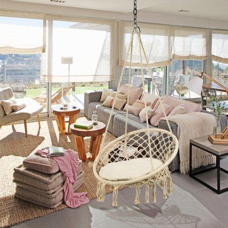 Ymiko Hammock Chair Indoor Outdoor Hanging Cotton Macrame