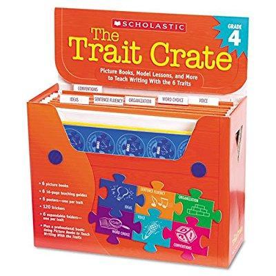 scholastic trait crate, grade 4, seven books, posters, folders, transparencies, stickers