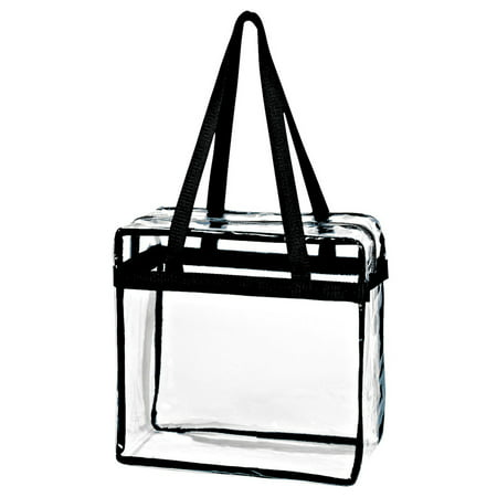 Karma Baby Crystal Clear Transparent PVC Plastic Women Tote Bag with Zippered Top Closure, Black Shoulder