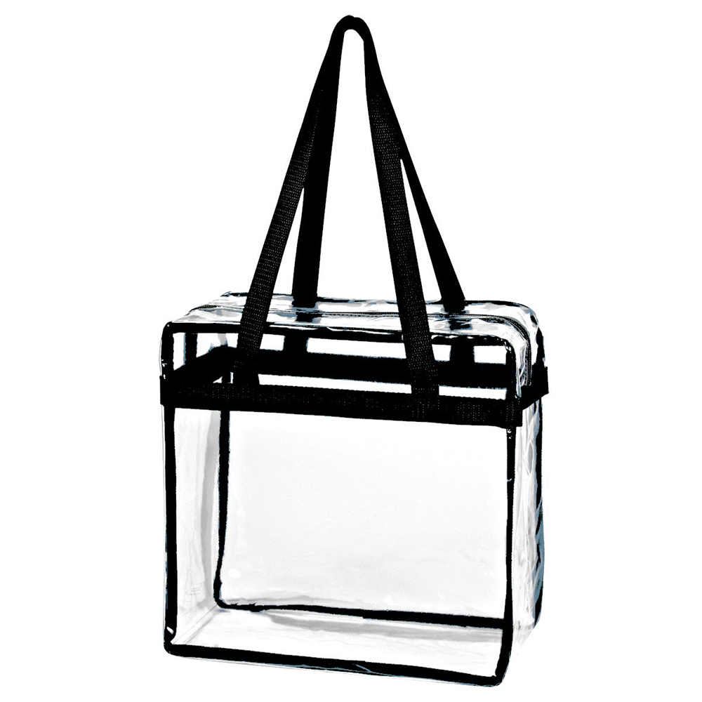 Karma Baby Crystal Clear Transparent PVC Plastic Women Tote Bag with Zippered Top Closure, Black Shoulder Strap