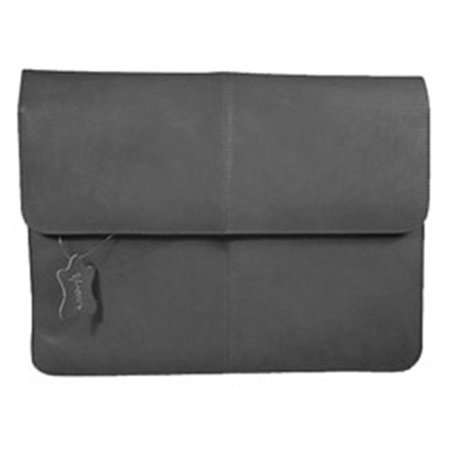 1/2 Flap Over Leather Envelope Briefcase w Front Pocket (Black)