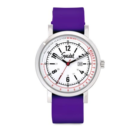 Speidel Scrub 30 Watch for Medical Professionals with Scrub Matching Purple Silicone Band, Pulsometer, Date Window, Easy to Read Dial, Second Hand, Military Time for Nurses