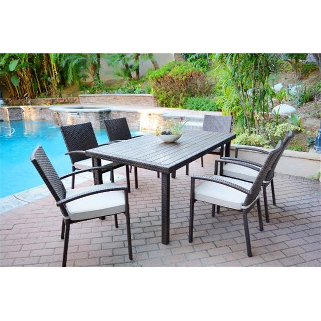Jeco W00301-A-G-FS018 7 piece Espresso Wicker Dining Set with Red Cushion