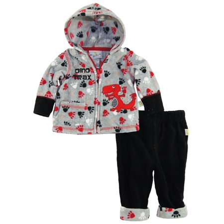 Duck Goose Baby Boys Dino Trax Print Micro Polar Fleece Hooded Jacket Pant Set