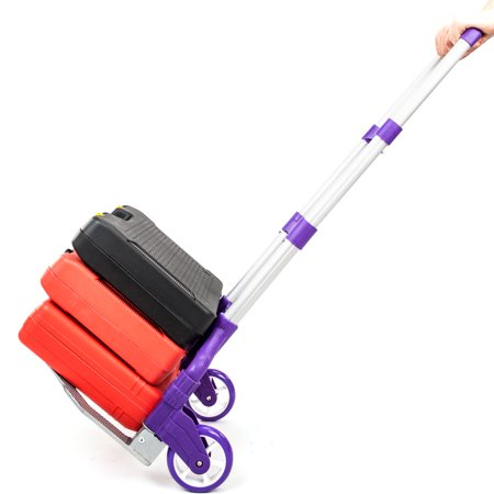 Folding Luggage Dolly - Compact Luggage Cart 170 lbs Aluminium Folding Dolly Push Hand Truck Collapsible Travel Shopping Supermarket Trolley, Purple